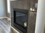 built-in fireplace with tile