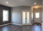 front master bedroom with frosted french doors